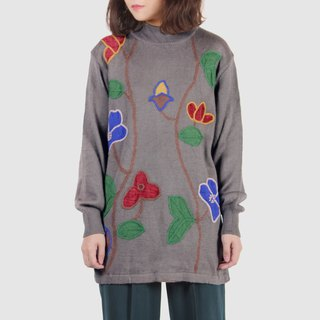 [Egg Plant Vintage] Paradise Flower Ladder Embroidery Totem Ancient Sweater