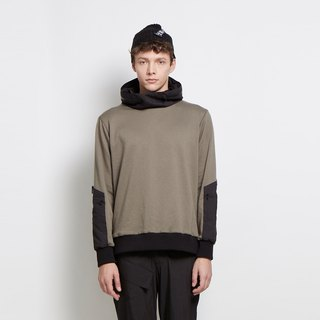 Hide and Seek - Hidden Hooded Stitched Knit Top - Dark Green