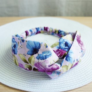 Lovely blue-violet rose butterfly elastic hair band, hair ring, blue purple