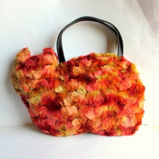Cat Bag Fluffy Fur Mix Red