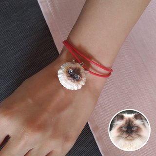 Stereo Printing ~ Hand-painted Persian Cat Charm with Wax Hand Band