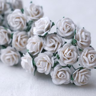paper flower centerpiece supplies , 60 pcs. Mini rose, size 1.5 cm., white color