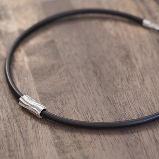 Log Men's leather necklace silver 925