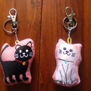 喵喵Cat Embroidery Cotton Key Chain Charm Embroidered in English Please Remark