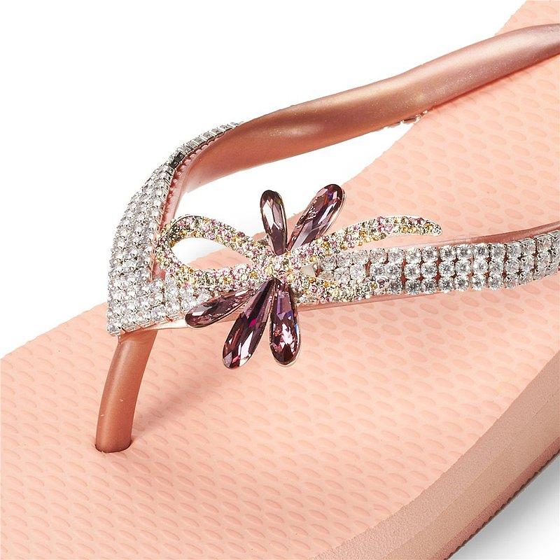 女款6cm厚底夾腳拖鞋-頂級首飾工藝水鑽-華爾舞姿 粉金