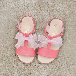 AliyBonnie Shoes Romantic Bow T Word Sandals - Berry Powder