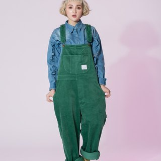 :EMPHASIZE Corduroy Work Loose Suspenders - Green