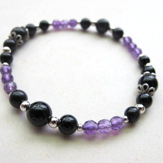 [Luminous] Amethyst x black tourmaline x 925 silverware - hand-made natural stone series
