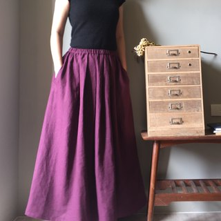 *Purple sister flower 3 noble and elegant deep purple linen and long skirt