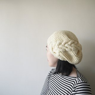 Hand-woven woolen cap ~ Merino / loose side linen hat series (white)