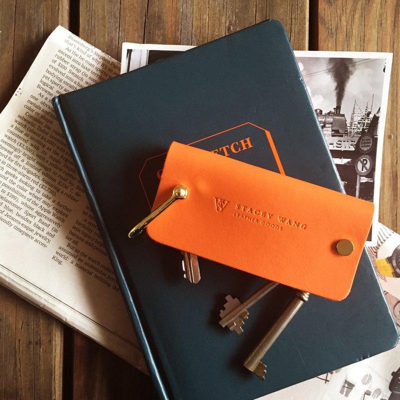 植鞣革鑰匙包 Handmade Key Pouch - Orange (大)