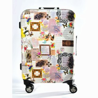 Flowers and plants - hand-printed fashion aluminum frame 20 吋 suitcase / suitcase