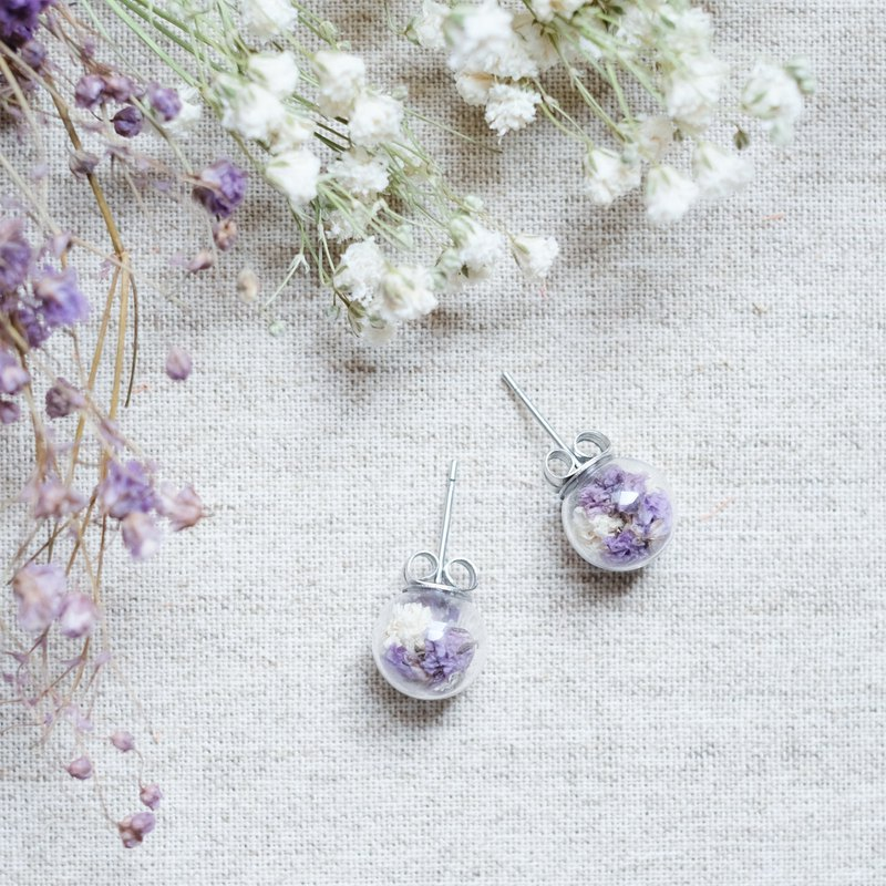 Being purple / Stainless Steel / Glass Dome Earrings