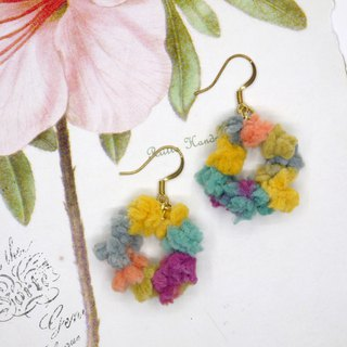 pom pom circle earrings (ear clip)