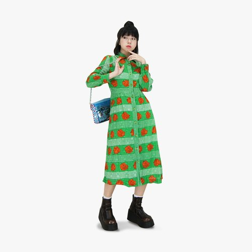 A‧PRANK: DOLLY :: Retro VINTAGE Fruit Green Rose Full Edition Antique Dress (D710042)