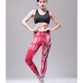 Aurora stretch tight yoga pants / splash red