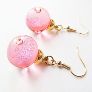 * Rosy Garden * Red galaxy liquid inside glass ball earrings