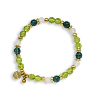 String Series Brass Peridot Moonstone Apatite Bracelet Natural Ore Crystal