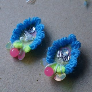 Blue plush wings mesh sequins fluorescent powder beads ear clips