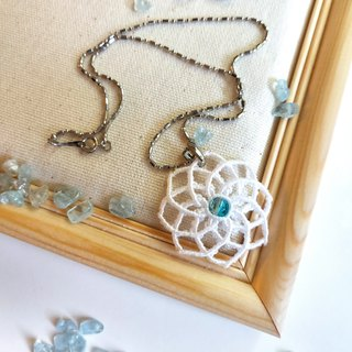 N008-Handwoven Necklace Blue Heart White Mandala Necklace