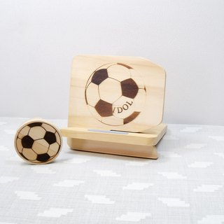 Football idol wood mobile phone holder clip headphone set custom name birthday greetings
