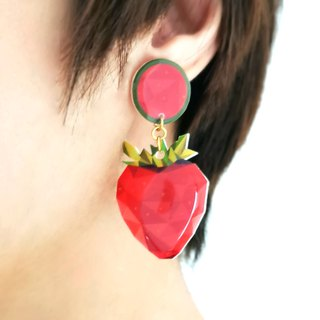 Summer strawberry shape / cute illustration / pin clip earrings