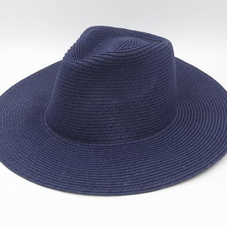 [Paper cloth home] big hat gentleman hat (dark blue) paper line weaving