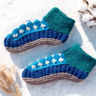 Hand-knitted pure wool knit socks / inner brushed striped socks / wool crochet socks / warm wool socks - blue ocean