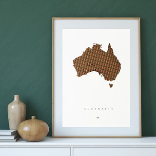 Australia Map poster | Handmade design | Cassette tapes weaving | Retro