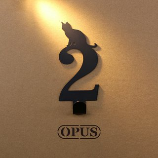 [OPUS Dongqi Metalworking] When the cat meets the number 2 - hook (black) / wall hanging hook / storage without trace