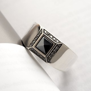 Minimalist Luxury Gentleman Black Diamond Ring 925 Sterling Silver