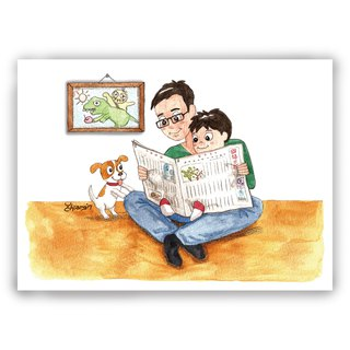 Hand-painted illustration father card / Universal Card / postcards / cards / illustration card - parent-child time to read the newspaper