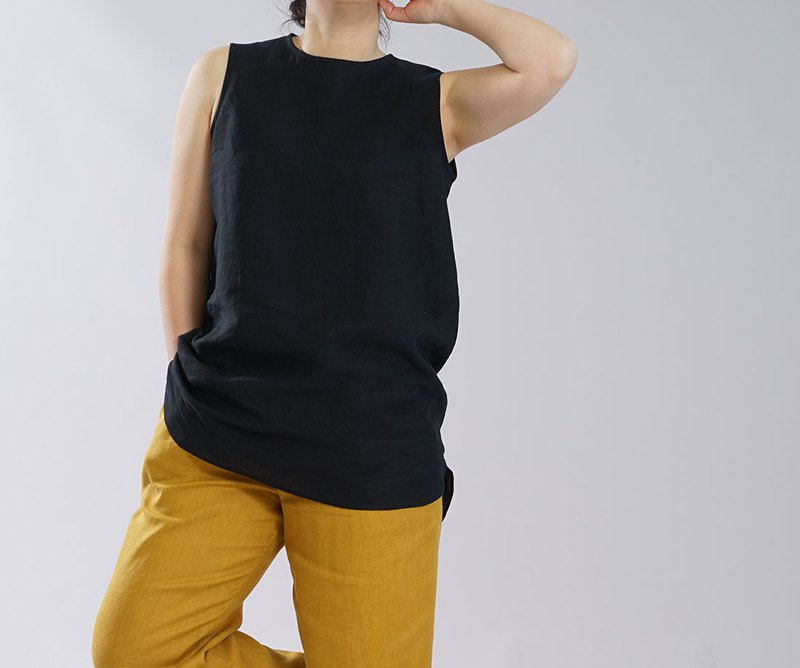 [Wafu] 薄面料亞麻麻內襯襯裙襯裙 2wey 無袖內衣也長長度下擺 / 黑色 p011b-bck1