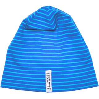 Nordic children's wear organic cotton striped hat sky blue / dark blue stripes