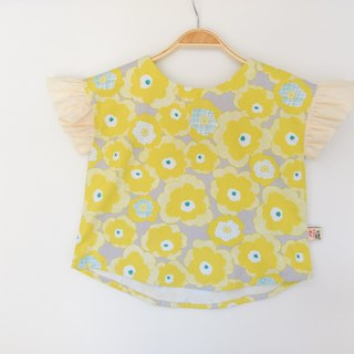 Handmade Ruffle Sleeve Top - Yellow Flower