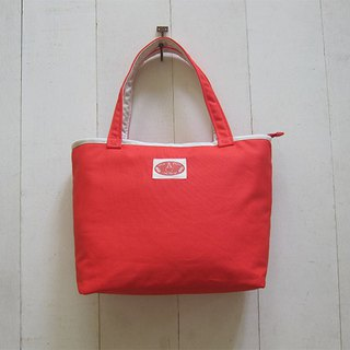 Macaron series - canvas medium tote bag (zipper opening) orange red + white