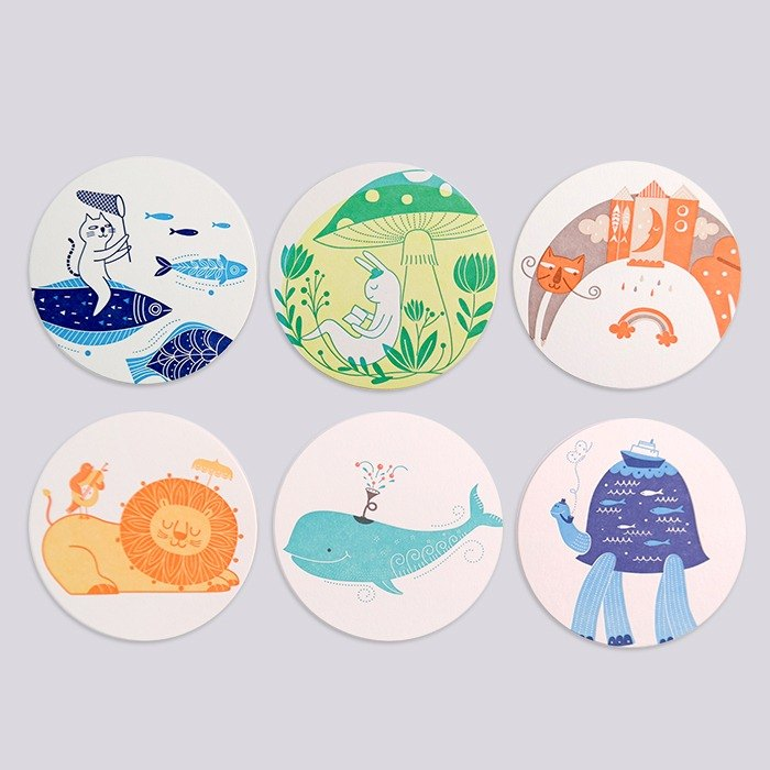 Letterpress printing letterpress coasters cartoon illustration, cats, hippos, whales and rabbits, six loaded