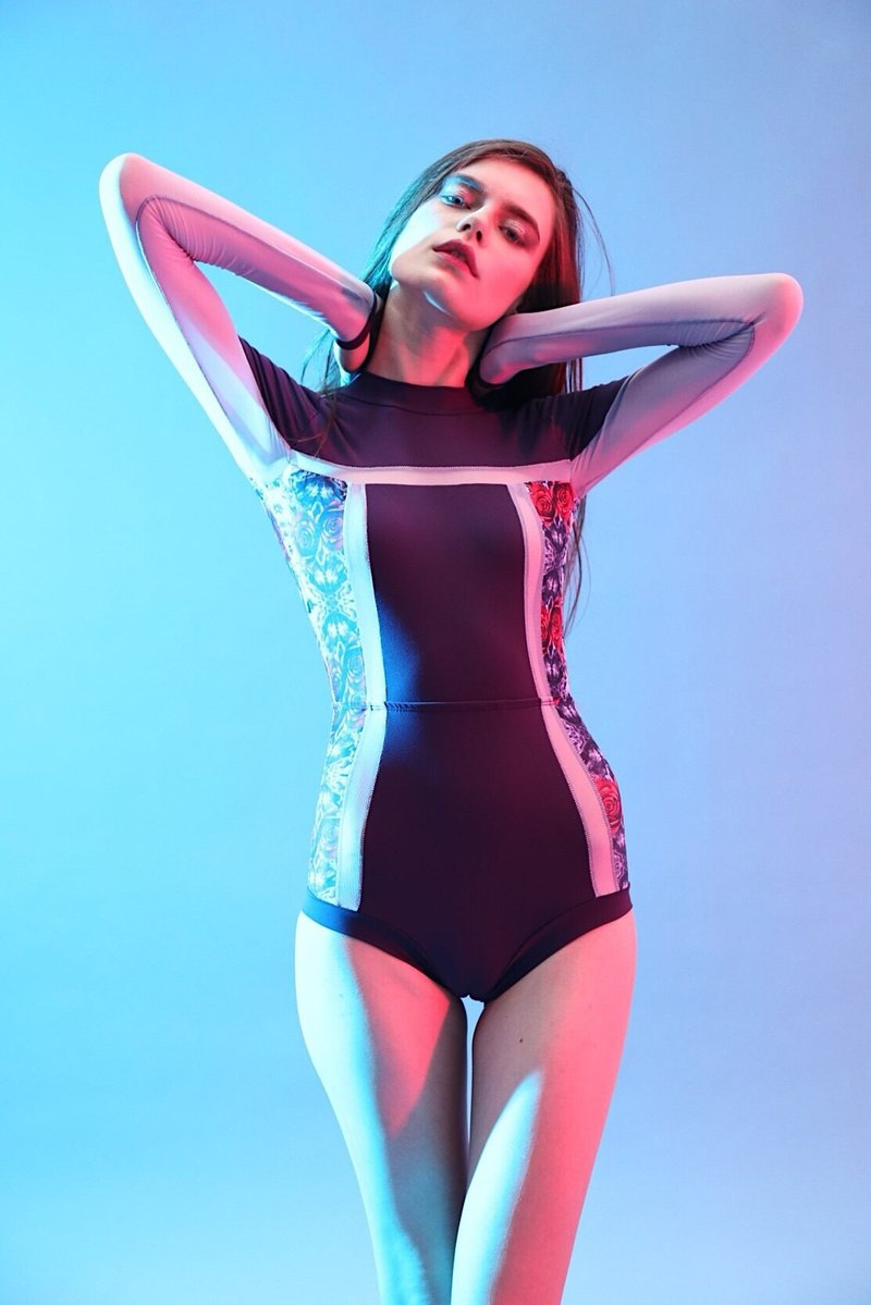 e933851a42 Tracker suit - PurplePrint   long sleeve one piece swimwear   XS - Designer  Bullet by Army of Interns