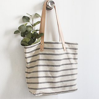 Striped cotton linen bag small fresh canvas bag leather shoulder strap