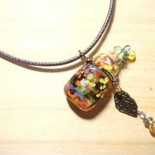 Grapefruit forest handmade glass - essential oil bottle / smell bottle necklace - blessing (flat square bottle)