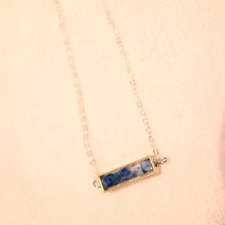 Brass - Blue Collar 925 Sterling Silver Necklace Bluestone 925 silver necklace