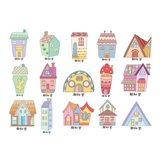 45 entertained name stickers / house models