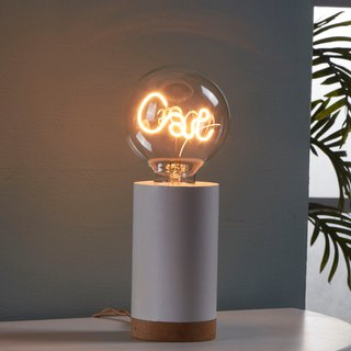 Cylindrical wooden night light - with 1 cat LED bulb