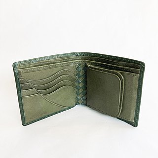 &quot;Basic&quot; Art wallet bridle leather <GREEN> × hand-knotted leather from the UK <GREEN> free shipping