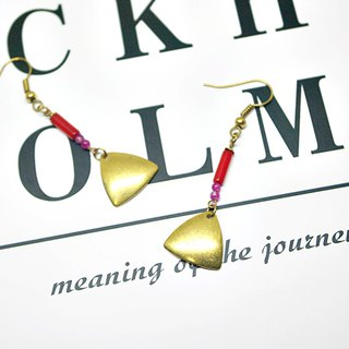 Brass X natural stone <red triangle>-hook earrings# fashion sense