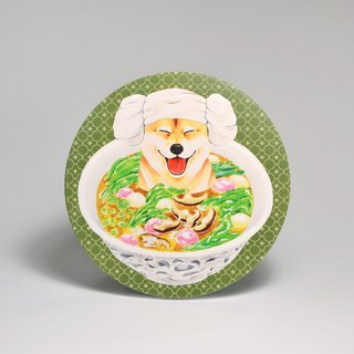 Water-absorbing ceramic coaster - Shiba Inu Keke House dumplings (send stickers) (can be purchased custom text)
