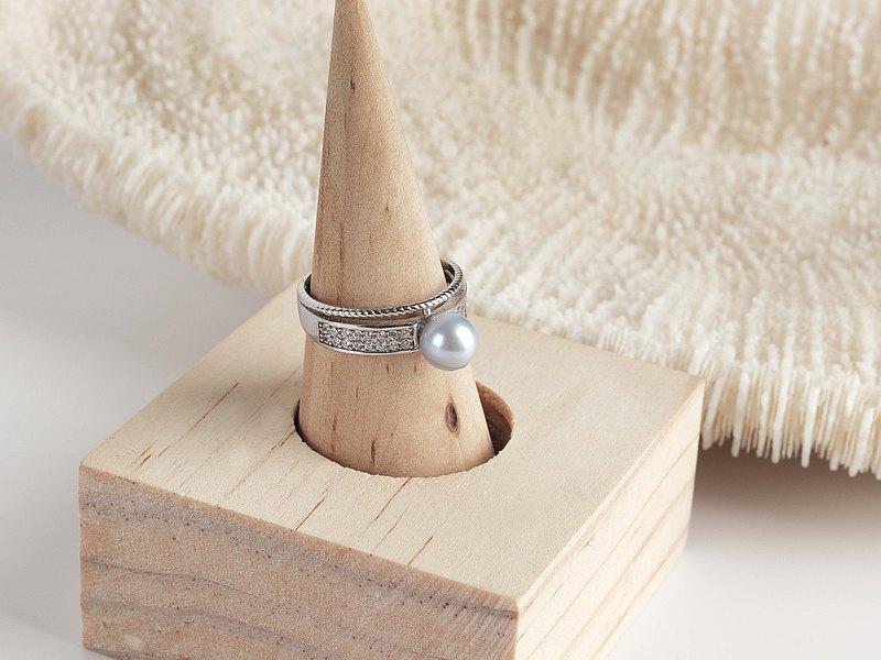 S925純銀天然銀藍色真多麻珍珠奧鑽戒指