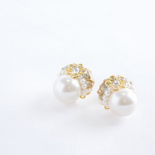 12mm1 grain Pearl & Bijou of elegant earrings (earrings) clear