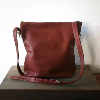 Classic Brown Full-grain Leather Crossbody Bag / Vintage Leather Bag