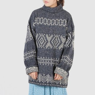 [Egg plant ancient] gray-scale snow woolen blended high-necked vintage sweater